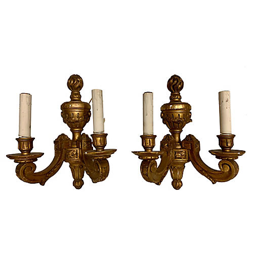 Antique French Giltwood Sconces,Pair