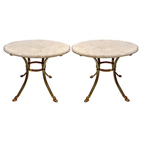 Modern Steel Gueridon / Tables, Pair