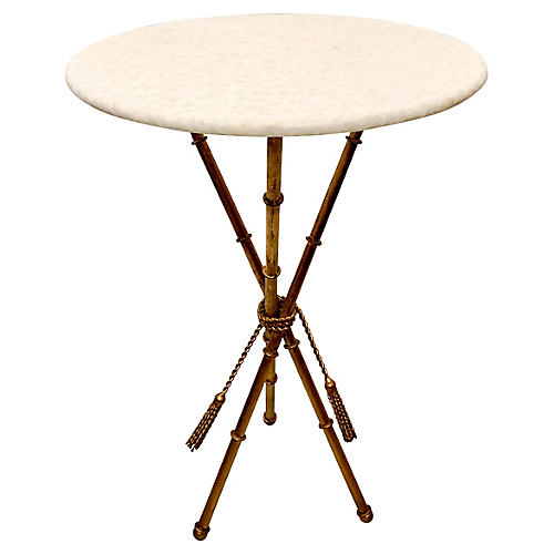 Gilt Faux Bamboo Marble Top Table