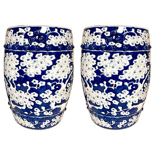 Blue & White Chinoiserie Garden Stools
