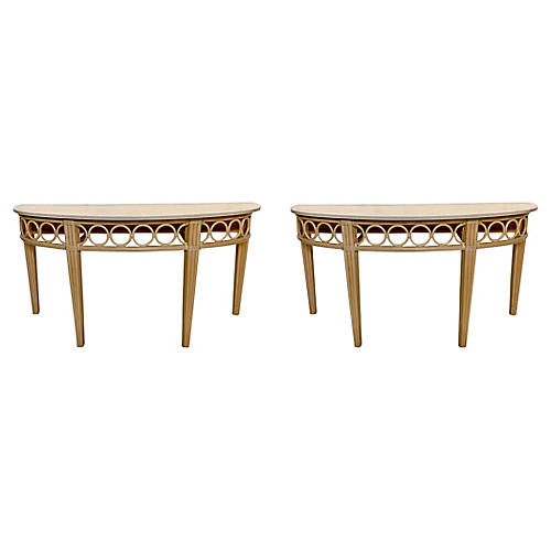 McGuire Rattan Console Tables, Pair