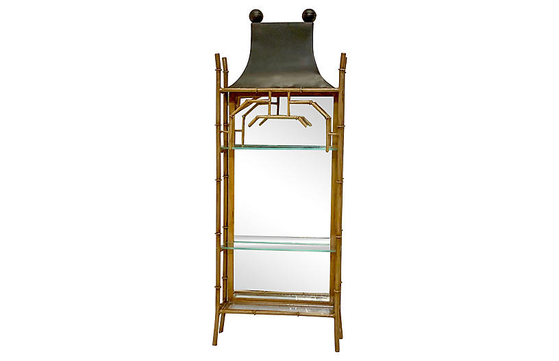 LaBarge Tole Chinoiserie Pagoda Cabinet