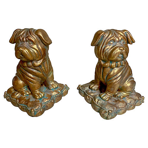 Borghese Gilt Pug Bookends, Pair