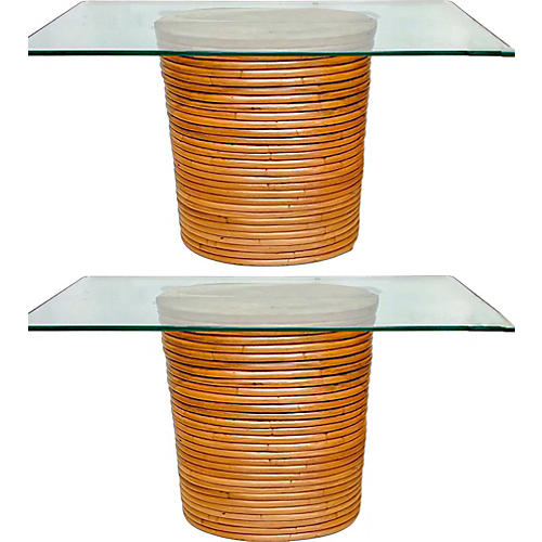 Crespi Style Bamboo Console Tables,Pair
