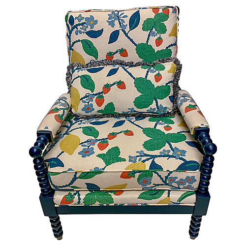 Navy Lacquered Spool Chair