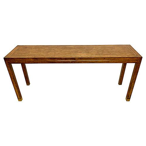 ModernBurlwood & Brass Console Table