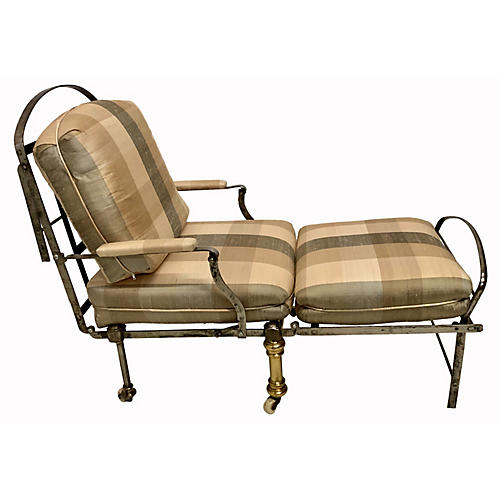 19th-C. French Campaign Chair Chaise