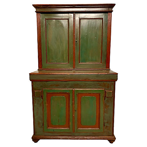 19th-C. French Painted Grain Cabinet