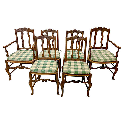 19th-C. French Dining Chairs, S/6