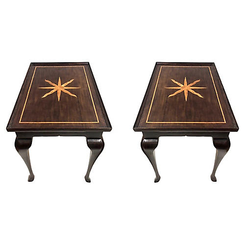 Queen Anne-Style Inlaid Side Table, Pair