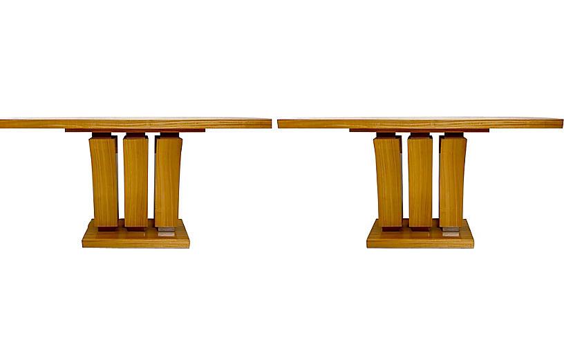 Art Deco-Style Satinwood Consoles, Pair