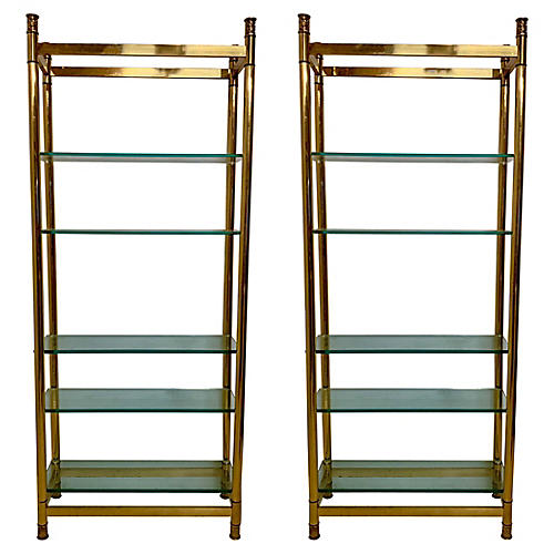 Neo-Classical Style Brass Etageres,Pair