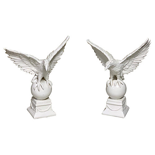 Porcelain Italian Eagle Figurines,Pair