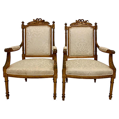 19th-C. Gilded French Bergeres, Pair