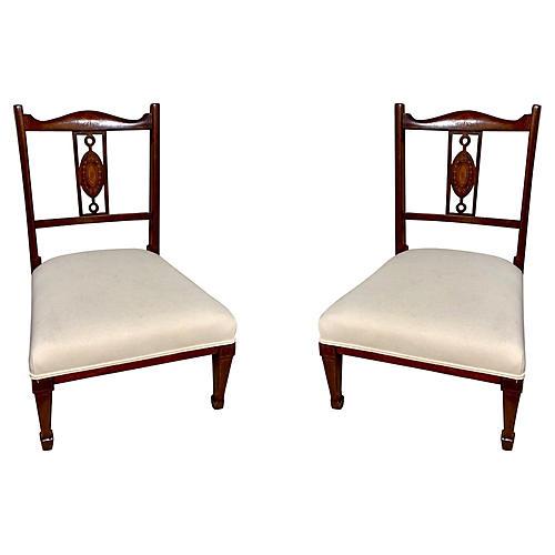 Inlaid Mahogany Children's Chairs,Pair