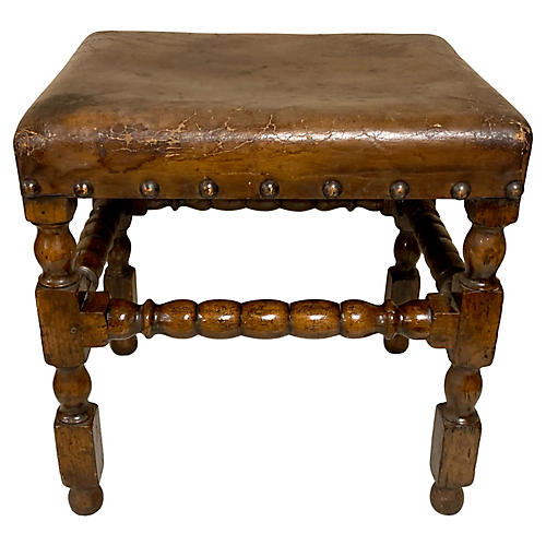 19th-C. Carved English Leather Ottoman