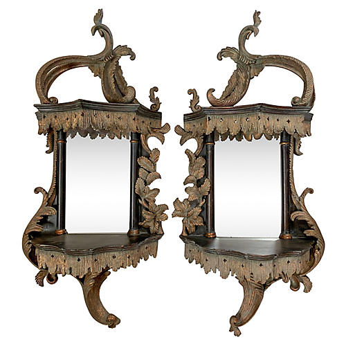 Chippendale Style Wall Mirrors, Pair