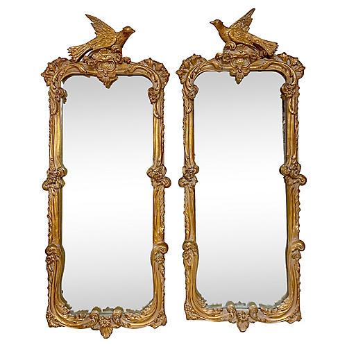 1970s Gilt Carved Bird Mirrors,Pair