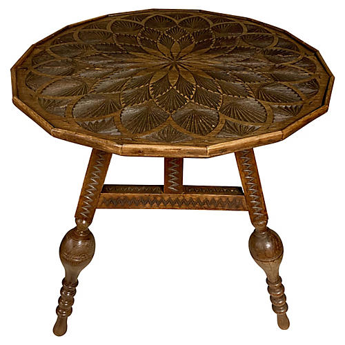 19th-C. Carved French Oak Table