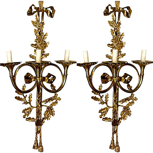 Large Scale Solid Brass Sconces, Pair