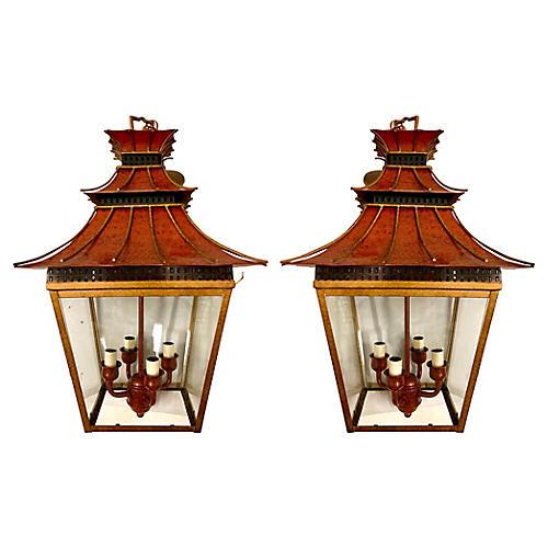 Chinoiserie Pagoda Tolen Lanterns, Pair