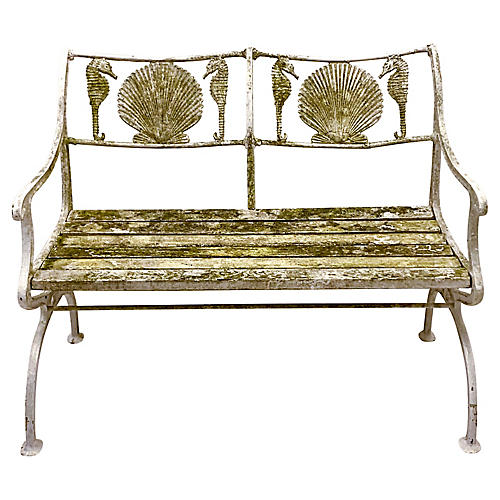 1930s Cast Iron Shell Bench by Marcy