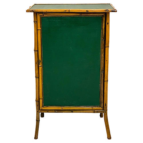 English Bamboo & Grasscloth Cabinet