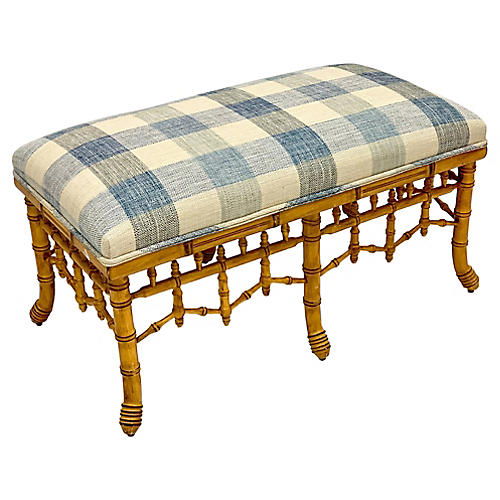 Chippendale Style Faux Bamboo Ottoman