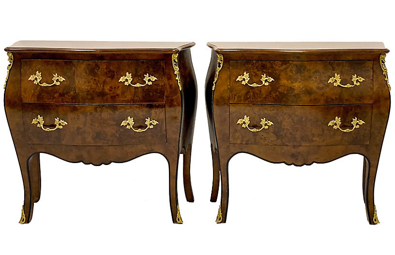 French Style Hekman Burl Chests, Pair