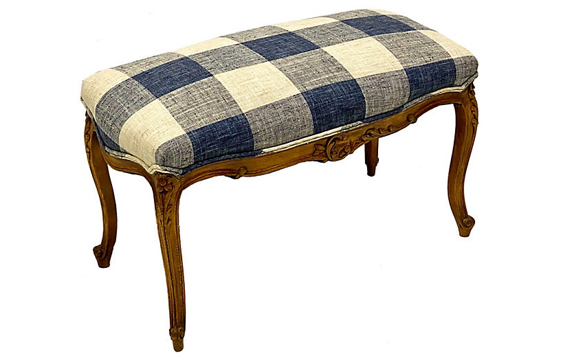 Carved Fruitwood French Ottoman