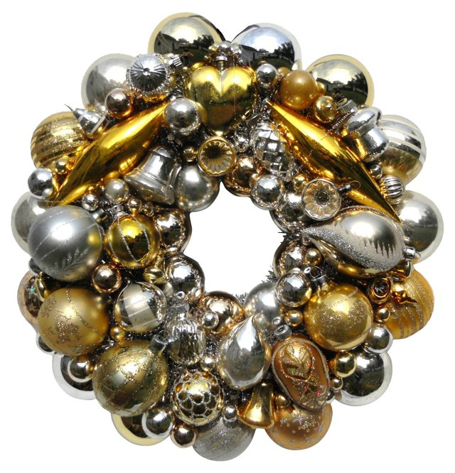 Gold & Silver Glass Ornament Wreath