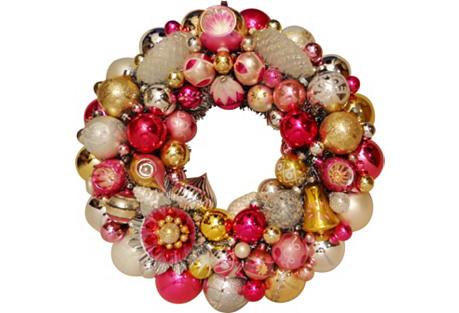 Pink Gold Holiday Wreath