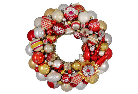 White Red Gold Silver Holiday Wreath