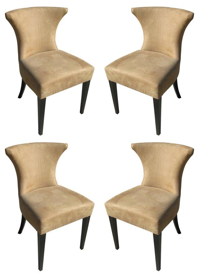 Custom Ultrasuede Dining Chairs, S/4