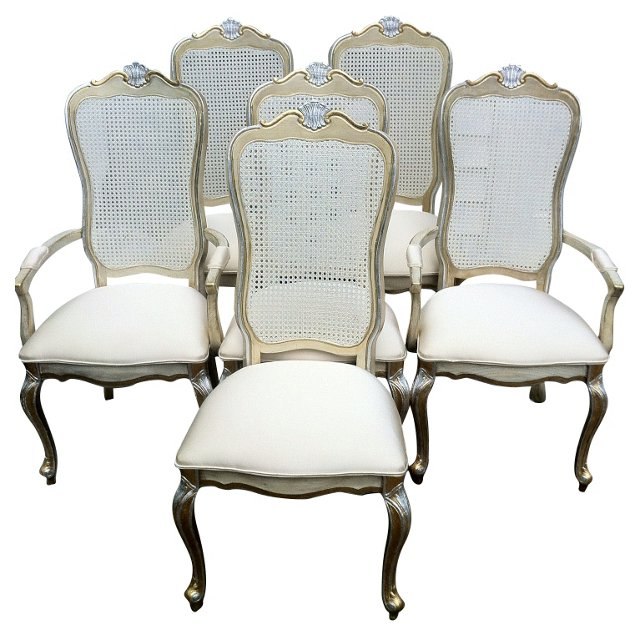 Gold & Silver Dining Chairs, S/6