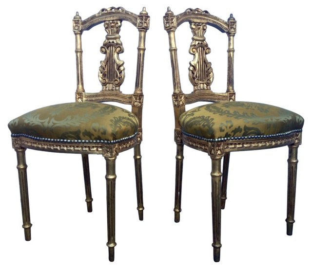 Antique Giltwood Lyre-Back Chairs, Pair