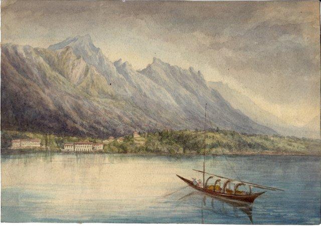 Watercolor of Switzerland, C. 1870