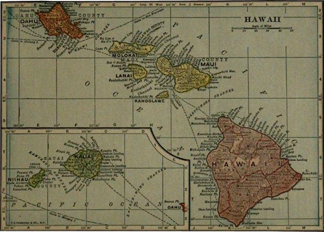 Map of Hawaii, 1919