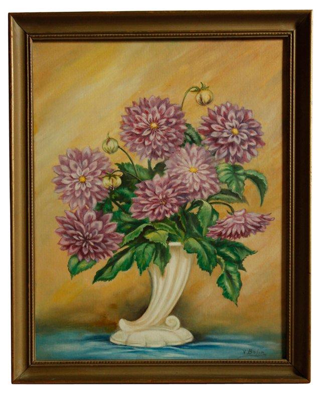 Dahlias in a Vase, C. 1940