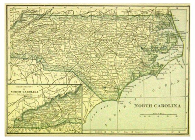 North Carolina Map, 1919