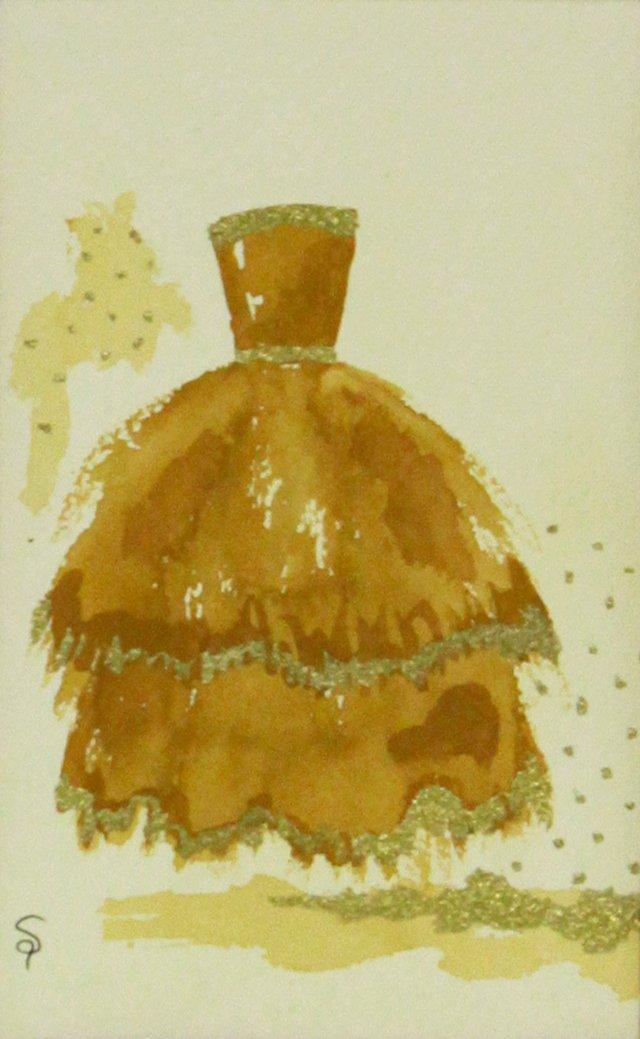Golden Tiered Long Ball Gown