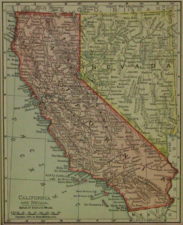California & Nevada Map, 1900