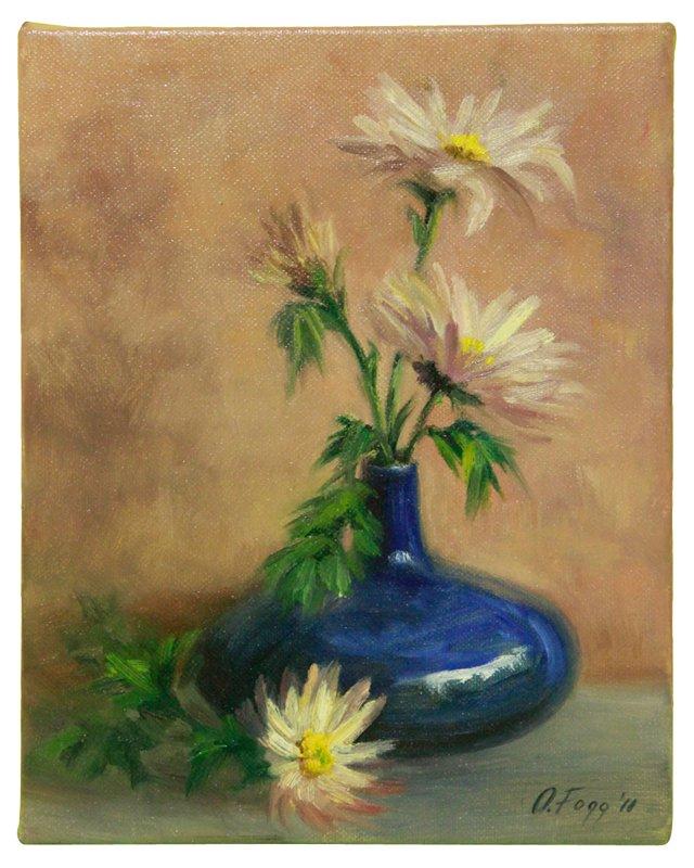Floral Still Life w/ Blue Vase