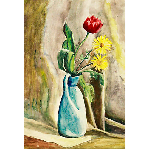 Flowers in Vase Watercolor, C. 1940