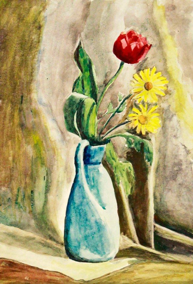 Flowers in Vase Watercolor, C. 1940