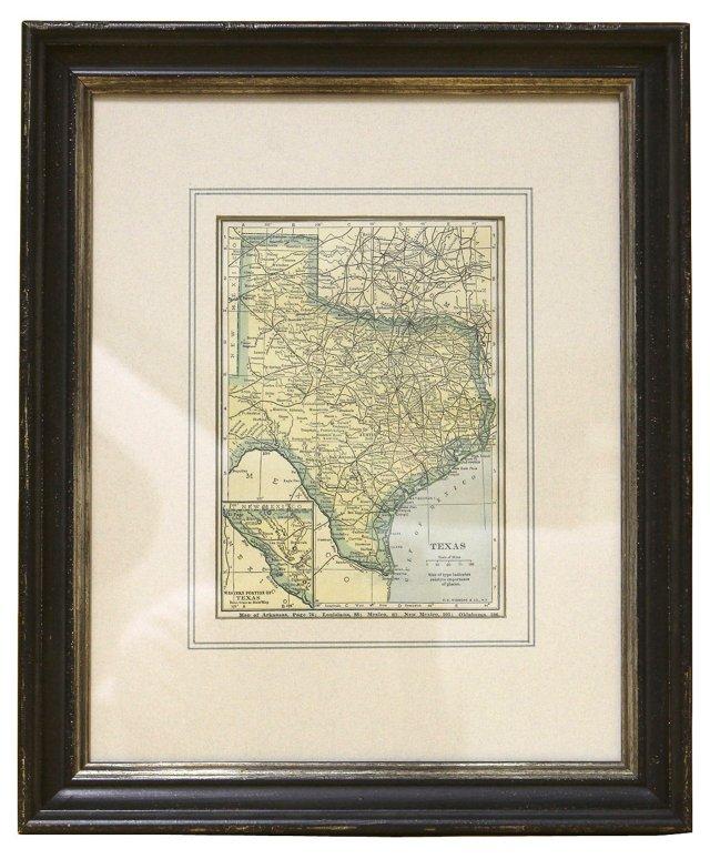 Texas Map,  1923
