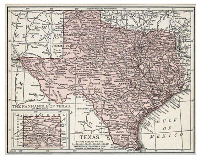Texas Map, 1911