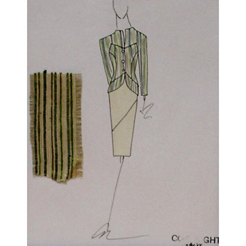 Striped Suit Fashion Illustration
