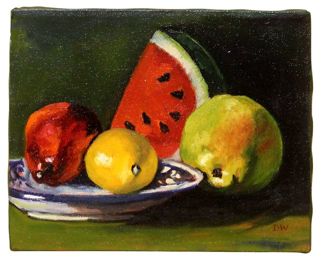 Fruit Still Life w/ Blue & White Plate