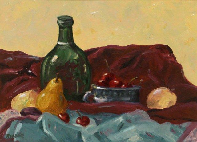 Antique Bottle w/ Fruit & Bowl